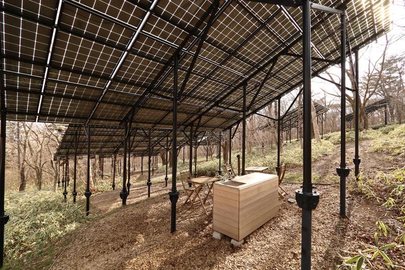 一部透過する構造の太陽光パネルにより、パネル下であっても明るく、屋根のあるスペースとして活用している