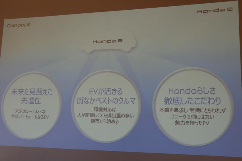 Honda eの3つのコンセプト
