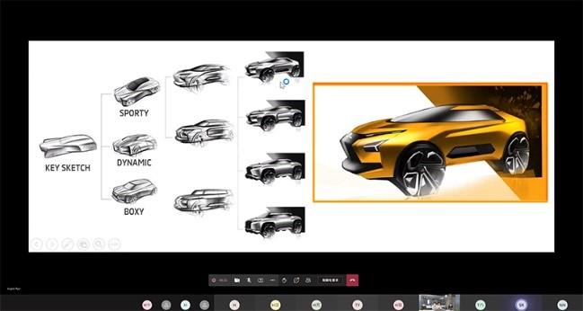 三菱自動車の現役デザイナーによるコンセプト立案からスケッチ展開のオンライン講義が行なわれた