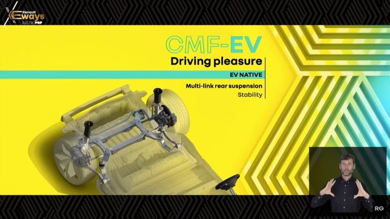 Excoffon氏のプレゼンテーションの様子と使用されたスライド資料。ステージ上にはCMF-EVプラットフォームも展示された