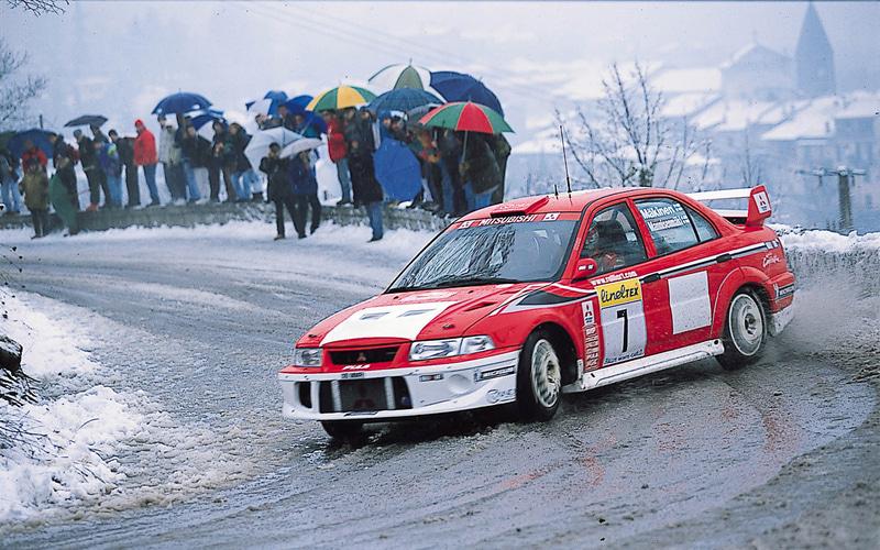 WRC展で展示される「ランサーエボリューション」(グループA仕様)