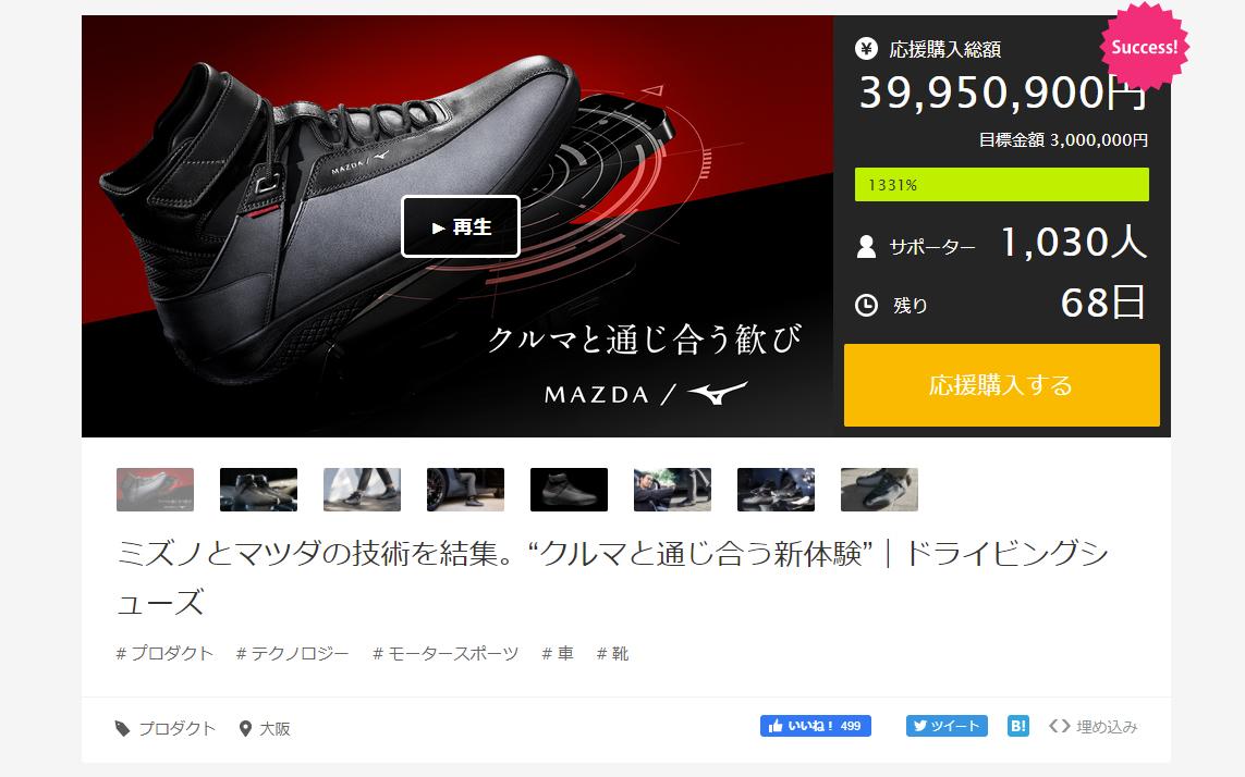 7月9日15時55分時点のMakuakeプロジェクトサイトには「Success!」の文字