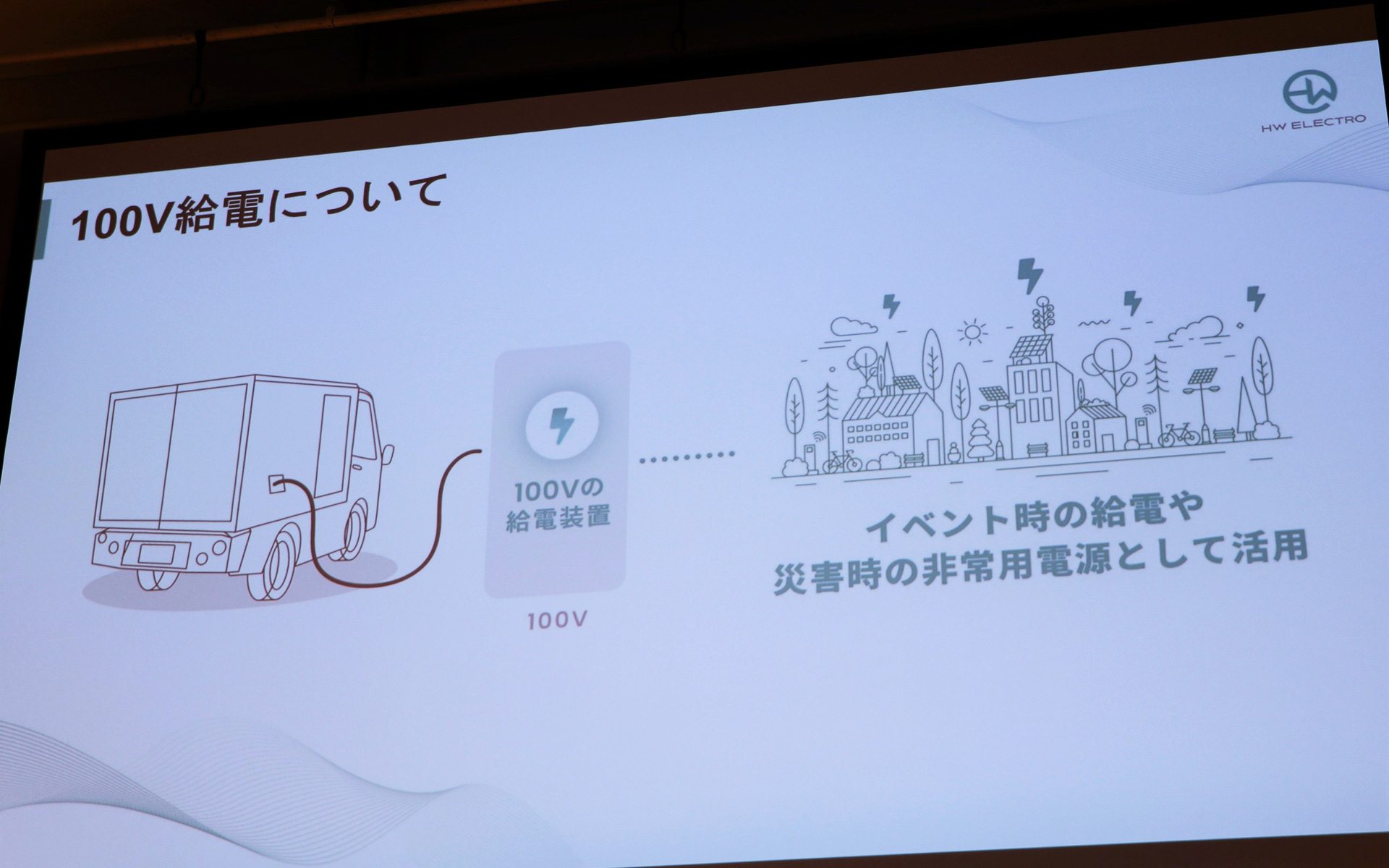 100V給電ができることで災害時やイベント時に活用可能