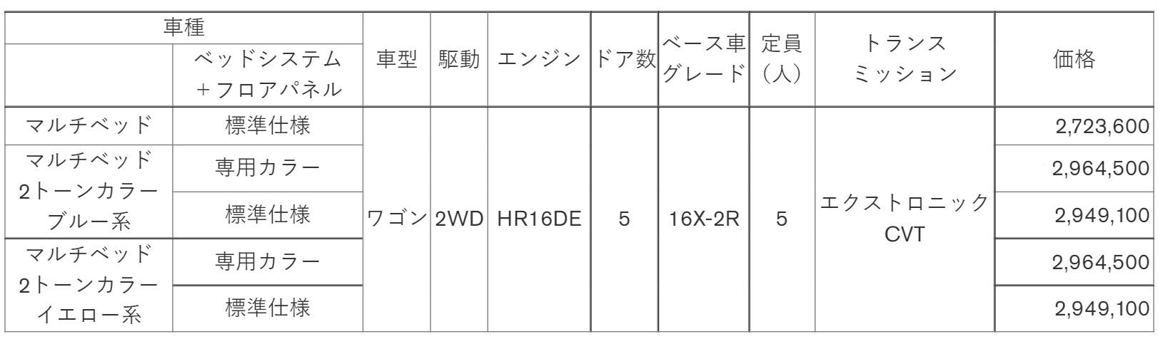 「マルチベッド」価格表