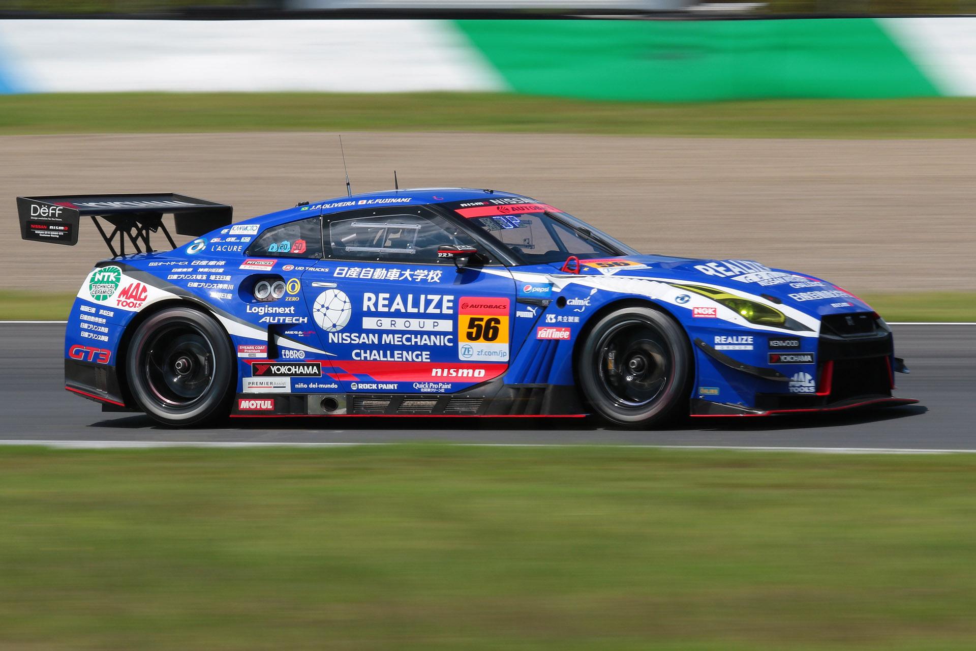 予選3位は56号車 リアライズ日産自動車大学校 GT-R(藤波清斗/ジョアオ・パオロ・デ・オリベイラ組、YH)