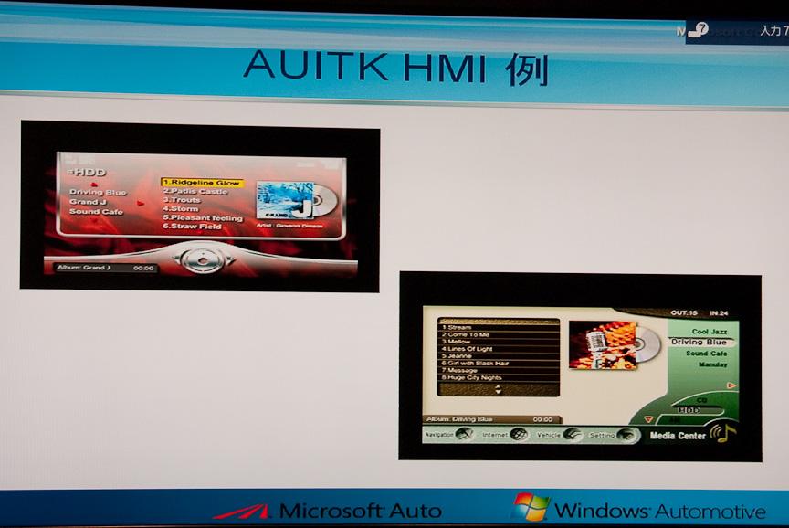 AUITKを利用して開発されたUIの例。HMIとはHuMan Interfaceのこと