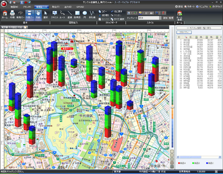 Excelのデータと組み合わせて地図とグラフをリンクさせることもできる