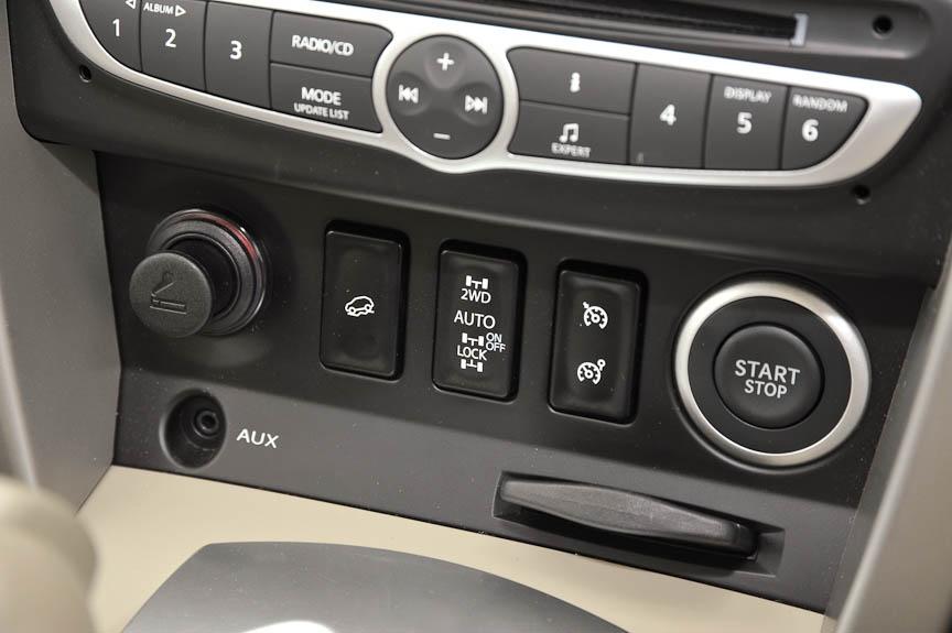 エンジンスタートスイッチのほかは、クルーズコントロール/スピードリミッター、4WD切り替え、ヒルダウンコントロールなどの走行系スイッチが並ぶ。AUXはカーオーディオの外部入力