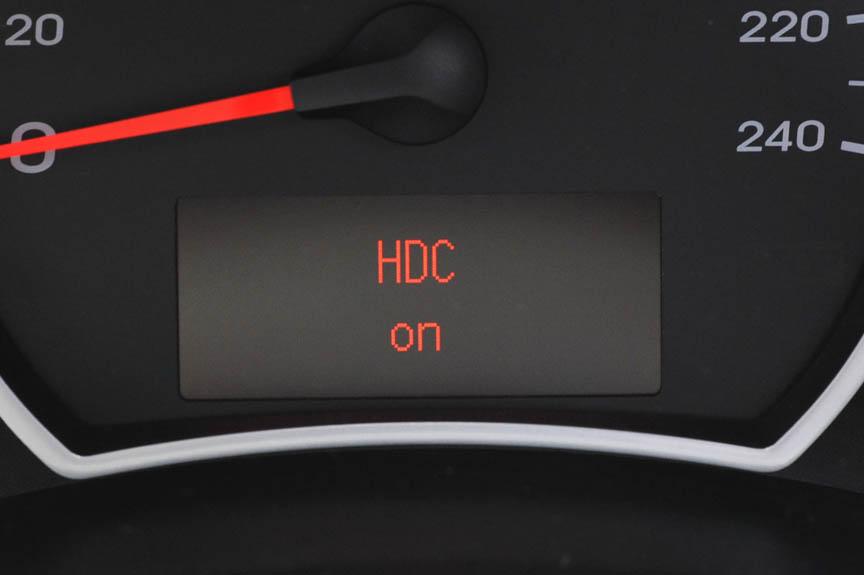 HDC(ヒルダウンコントロール)をONにすると急な下り坂などを自動で7km/hの一定速度で下ることができる