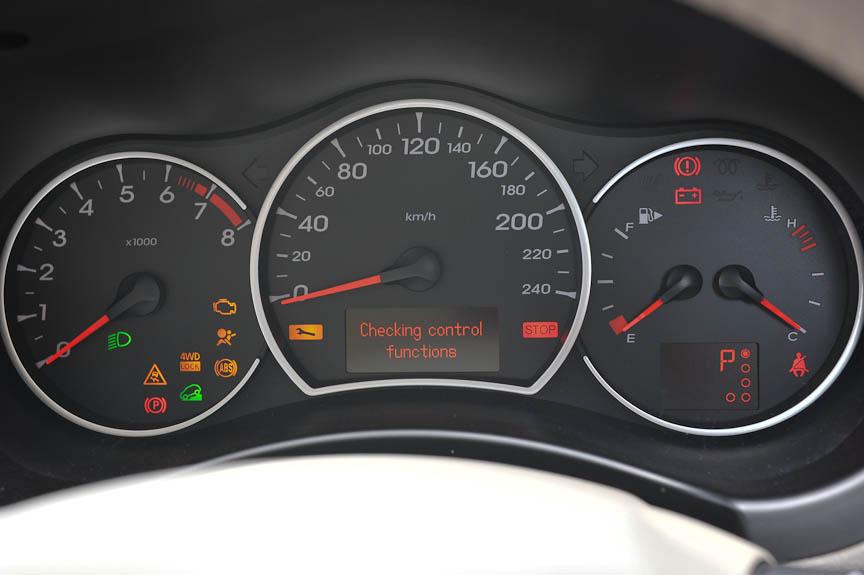 メーターは中央にスピード、左にタコメーター、右に燃料計と水温計。ライト点灯時は赤いに近いオレンジ色で照明される
