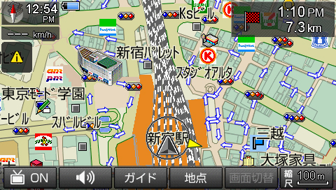 市街地での地図表示(縮尺100m)