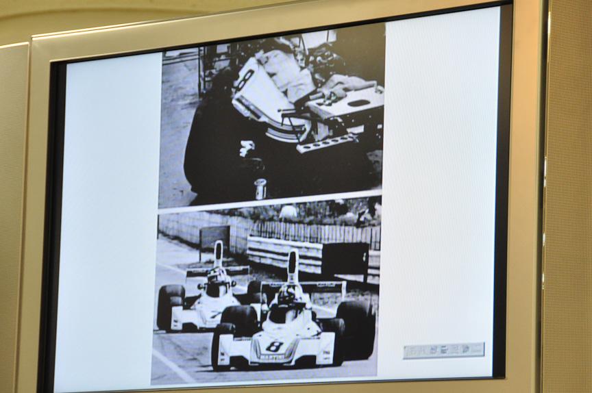 「ブラバムBT44」。1/12スケールで模型化されている。チーフデザイナーは、マクラーレンのMP4シリーズなどでも有名なゴードン・マレー