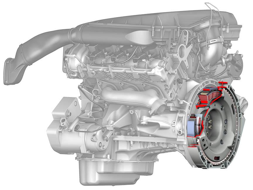 モーターはエンジンとトランスミッションの間に置かれる