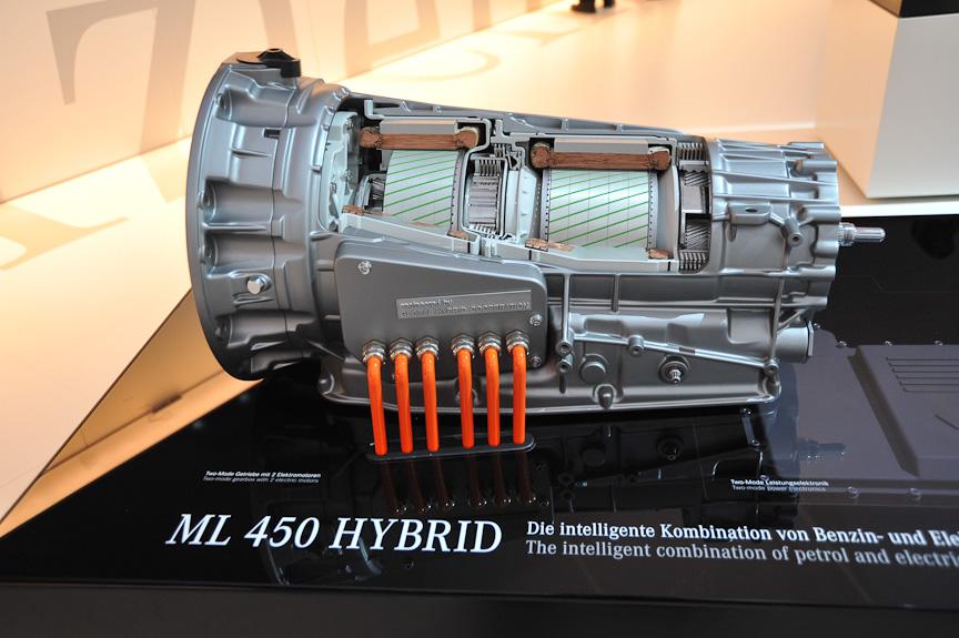 ML 450 HYBRIDの2モーターハイブリッド。走行状況に応じて2つのモーターが、目まぐるしく駆動/発電の役割を切り替える