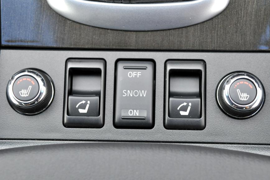 シフトレバー手前には左右のシートヒーター操作つまみと、内側はリアシートを電動で倒すためのスイッチ