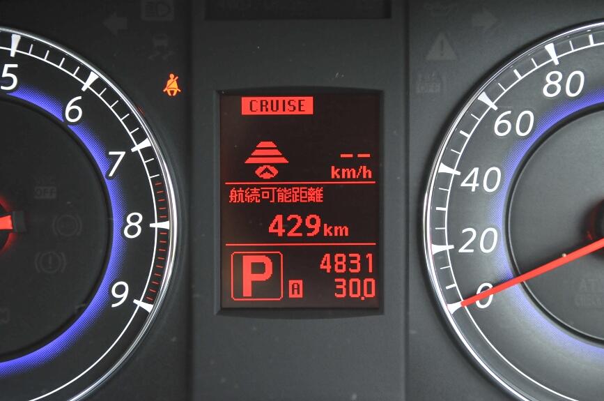 メーター内のディスプレイにはさまざまな情報を表示できる。航続可能距離を示したところ