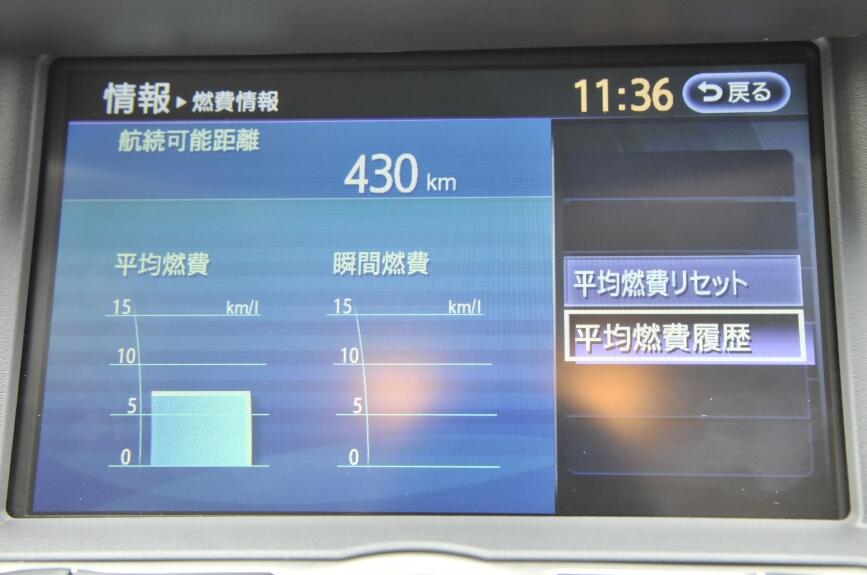 燃費などの情報も表示できる。なお、写真の表示は試乗中のもので、平均燃費は実際に利用した燃費ではない