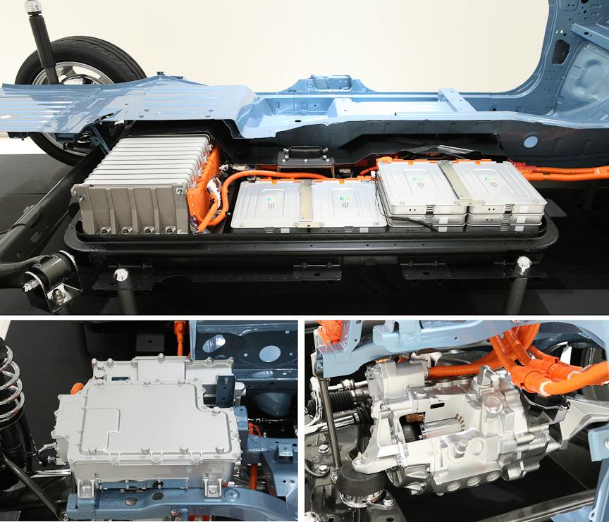 新規開発されたEV用プラットフォーム。リチウムイオンバッテリーはフロア下に配置される
