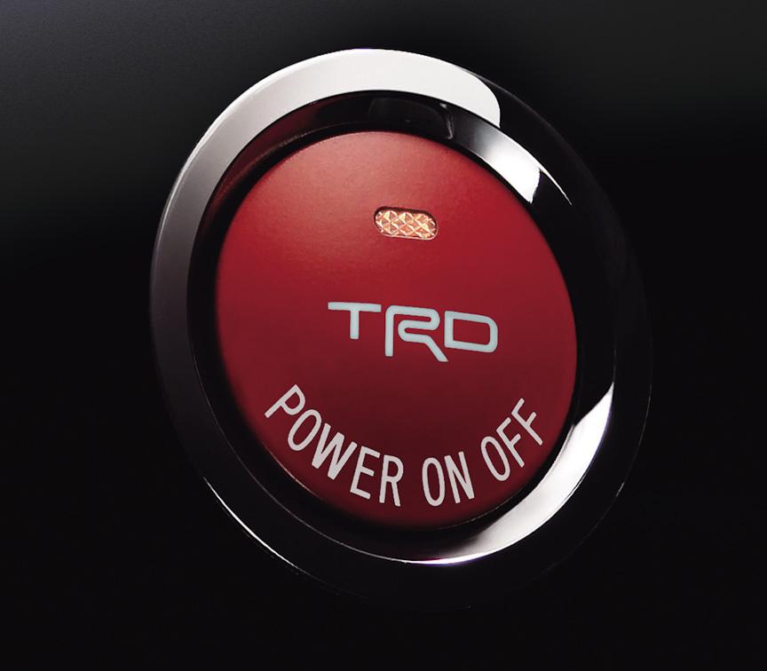プッシュスタートスイッチ(ハイブリッド車専用)は、TRDのロゴとハイブリッド車らしく「POWER ON OFF」の文字が刻まれる。価格は1万4700円