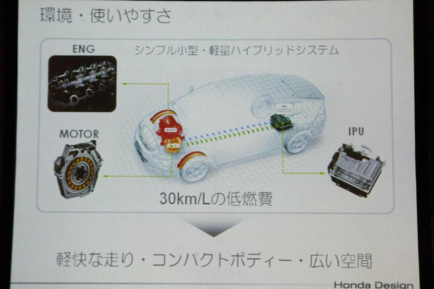 小型軽量のハイブリッドシステムでコンパクトなボディーと軽快な走りを実現