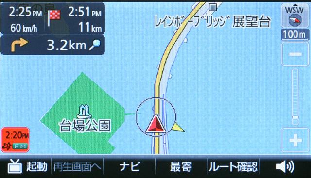 高速道が上を走るレインボーブリッジで、下の一般道を走ってみる。GPS信号は途切れがちとなったが、それでも誤差は発生せず