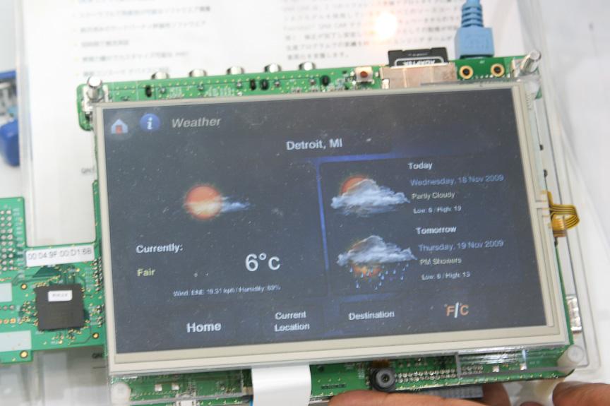 QNXソフトウェアシステムズのAdobe Flashに対応したウィジットをカーナビ上で実行するデモ
