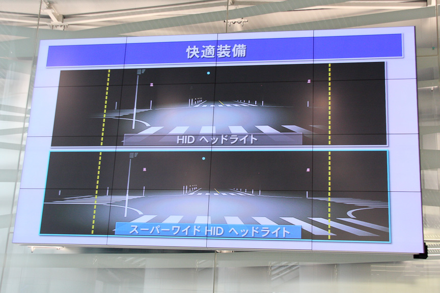 スーパーワイドHIDヘッドライトは従来のHIDヘッドライトよりも約35%光量アップしたと言う。写真右の上段が従来のHIDヘッドライト、下段がスーパーワイドHIDヘッドライト。よりワイドに照射しているのが分かる