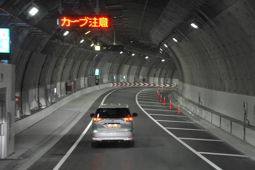 大橋JCT手前で車線が1本に減る