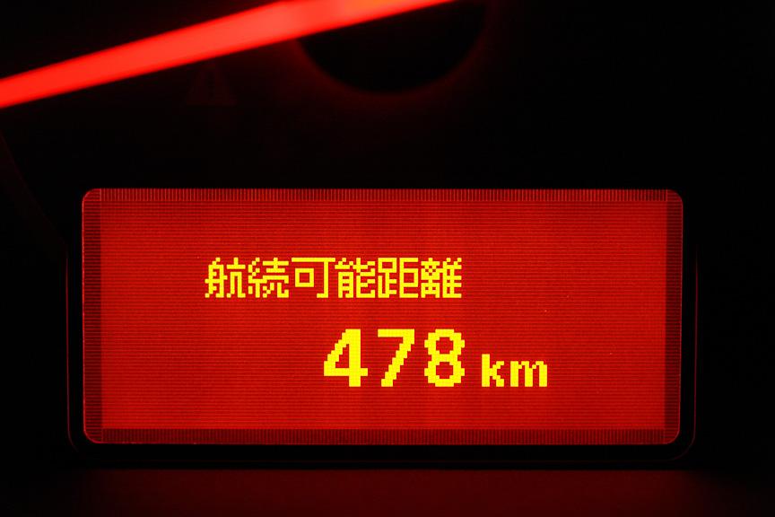 車両情報ディスプレイにはさまざまな情報を表示。左上から瞬間燃費、平均燃費と平均車速、走行時間と走行距離、航続可能距離、外気温、各種警告など