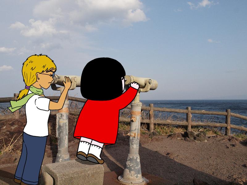 「エイミー何か見える?」「海しか見えません」