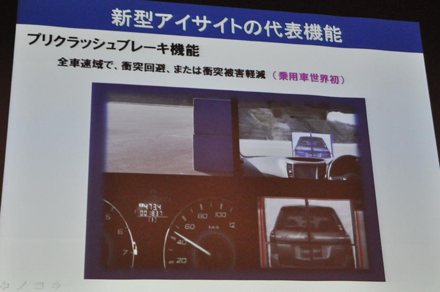 乗用車世界初となる、全車速域で働くプリクラッシュブレーキ機能