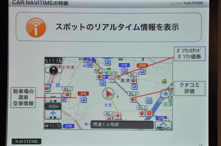 地図上にも表示。満空情報だけでなく、ガソリンスタンドの価格情報や、飲食店の口コミ評価もマッピングされている