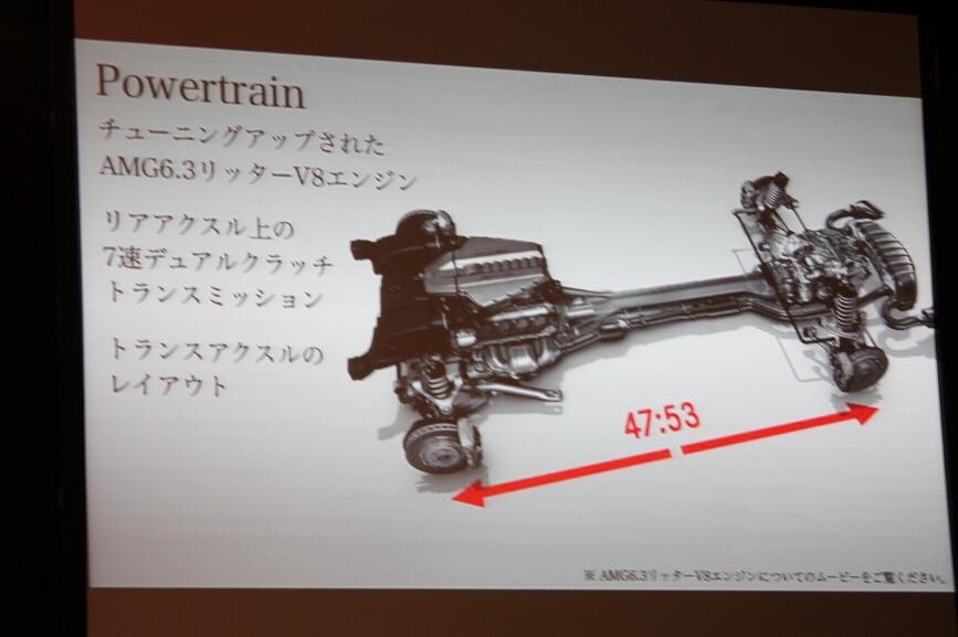 トランスアクスルレイアウトを採用、前後の重量配分は47:53