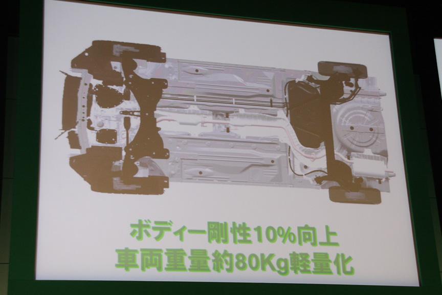 ボディー剛性は10%向上し、車両重量は従来比で80kg軽量化した