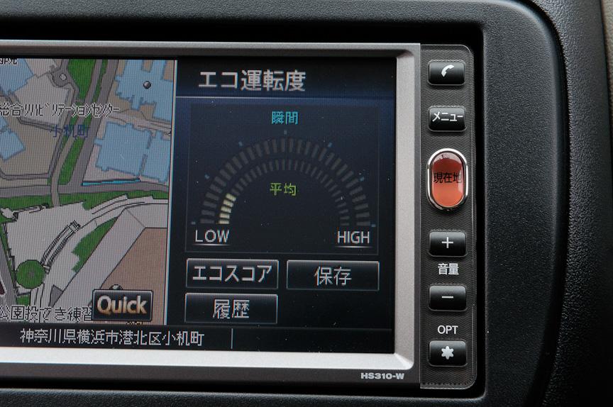 オプションの2DINカーナビはメモリータイプとHDDタイプを選択できる。いずれもエコ運転診断機能を搭載し、クルマの速度や加速度などから計算した瞬間・平均を確認できる「エコ運転度」のほか、エコ運転度を得点化し、発進、巡航、減速のシーン別に診断する「エコスコア」、これまでに獲得したエコ運転度、エコスコアの履歴などの表示が可能