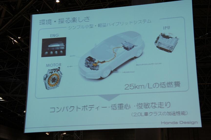 CR-Zに搭載するシンプルで小型・軽量なハイブリッドシステム。25km/Lの低燃費を実現する