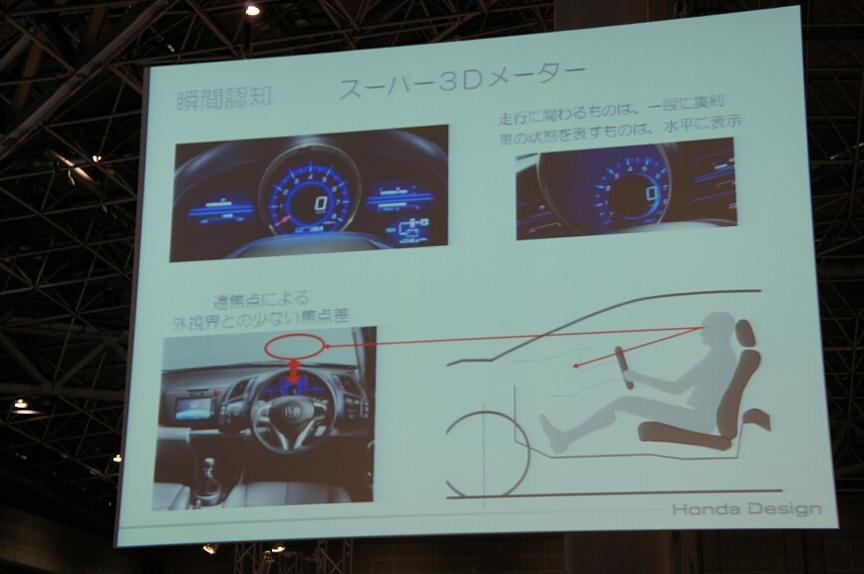 CR-Zでは走行に関わるものは一眼メーターに集約し、クルマの状態をあらわすものは水平に表示する「スーパー3Dメーター」を採用した