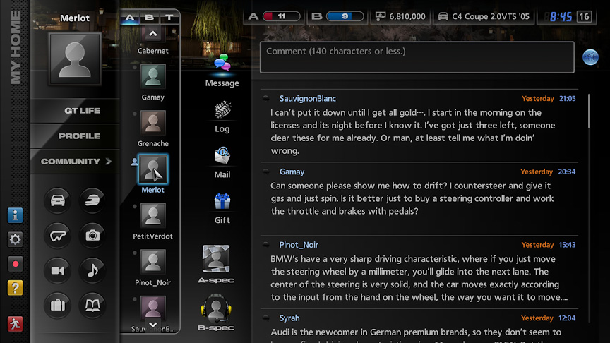 マイホーム画面。このマイホーム画面から、レースやコミュニケーションなどさまざまなことができる。Webブラウザーからアクセスできるようになったのは、大きな変化