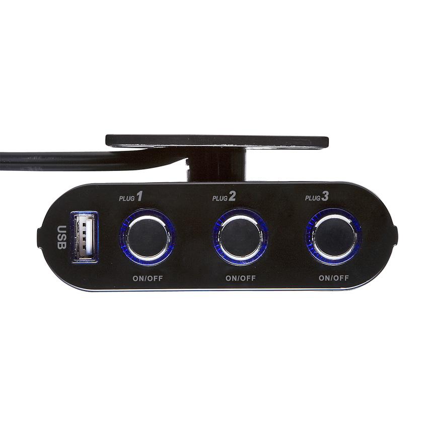 3分配タイプのCAR-CHR60CU。独立給電スイッチは、青がOFFで、赤がON