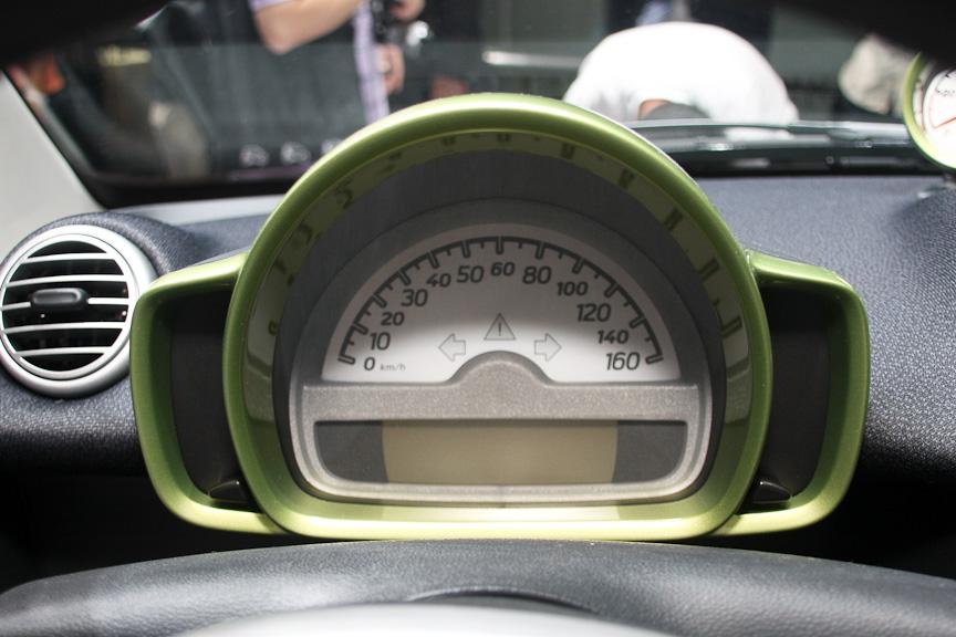 スピードメーターは160km/hまで刻まれるが、最高速度は100km/h