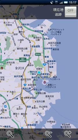 アプリを起動するとGPSデータを元に自車位置周辺の地図とメニューアイコンが表示される