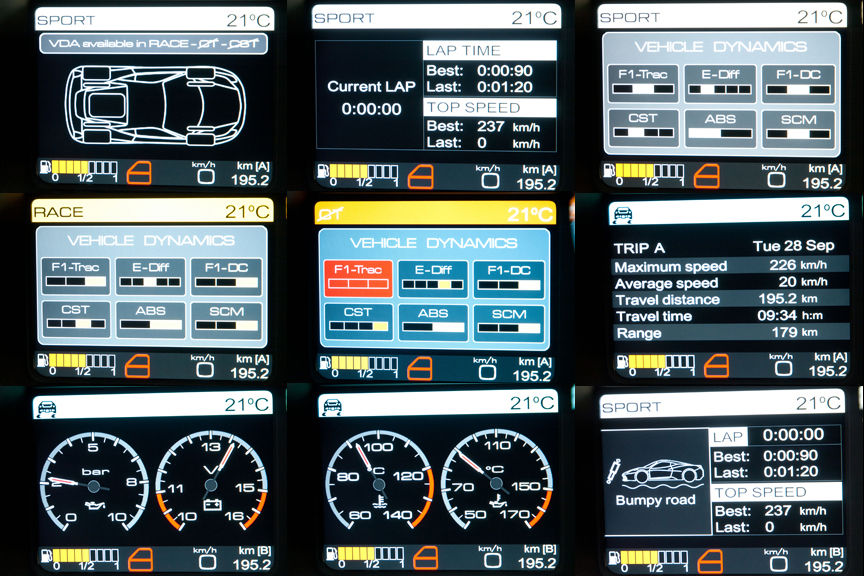 左側の液晶モニター表示バリエーション。サスペンションセッティングや油圧、油温など車両の各種情報をモニターできる