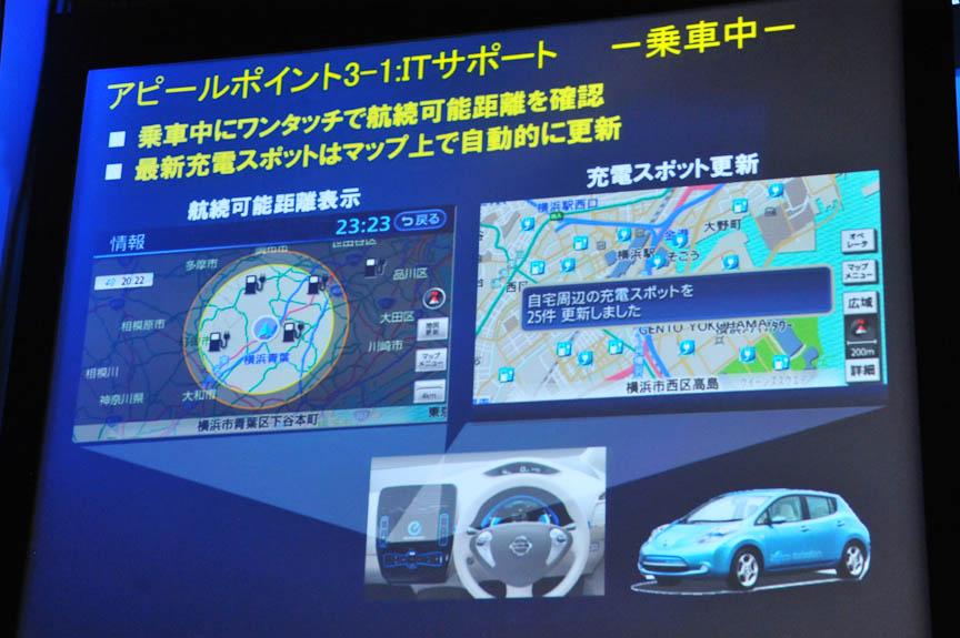 ITを駆使してドライバーをサポートするのもリーフの特長。スマートフォンでリーフの状態を知り、充電や冷房のコマンドを出すことができる。また航続可能距離や充電ステーションを分かりやすく表示する