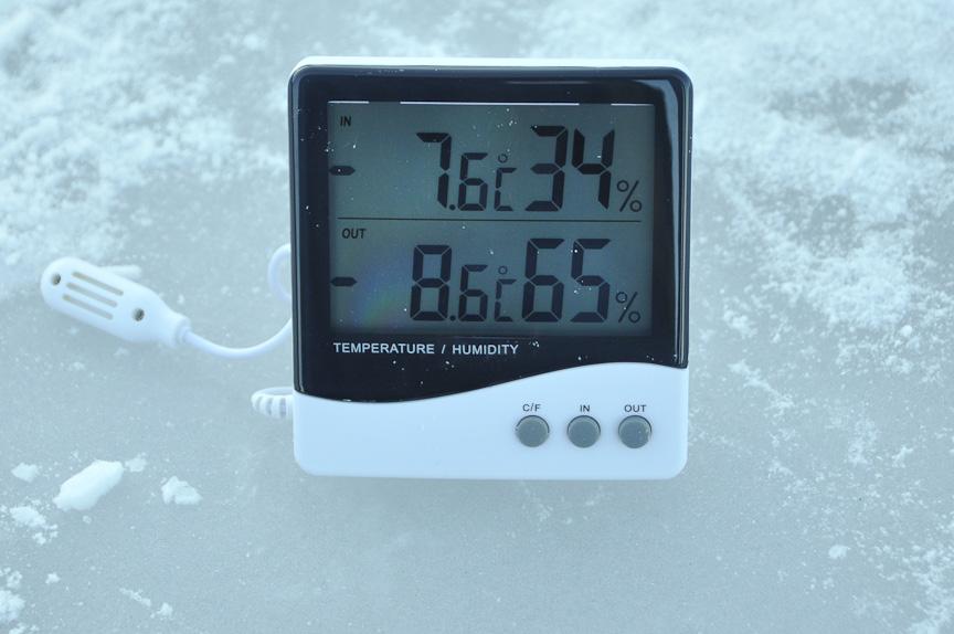 気温を測定中。気温は-8度~-7度