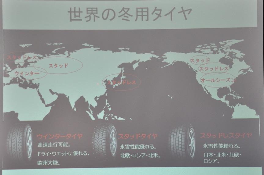 世界の冬用タイヤの傾向。ウインタータイヤは主に欧州大陸で、スタッドタイヤは主に北欧、ロシア、北米で、スタッドレスタイヤは主に日本、北米、北欧、ロシアで使われていると言う