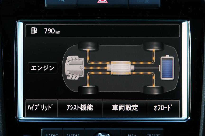ハイブリッドシステムの稼働状況はモニターにリアルタイム表示が可能。左からモーターのみを使用する発進時、エンジンのみの低負荷時、アクセルOFF時。減速状態ではエンジンを停止し回生システムが働く