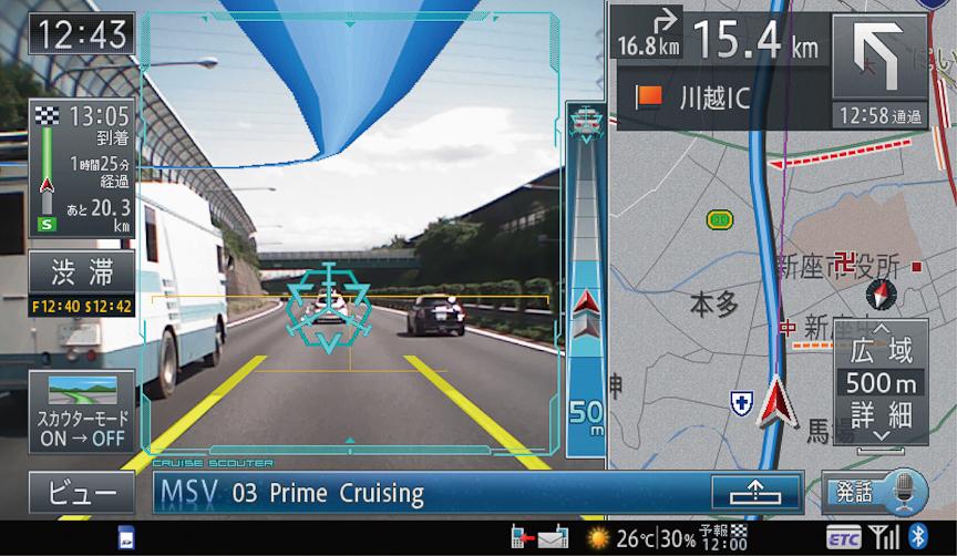 ARスカウターモード画面。上部にルートが、中央に車間距離ゲージが表示されている