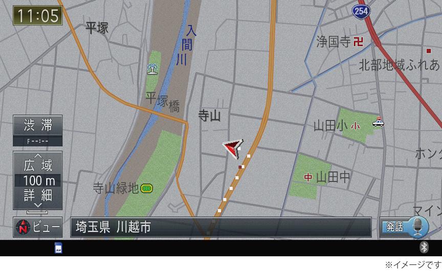 ロードクリエイター機能。左には道がないが、一度走行することで地図上に道が表示されるようになり、ルート検索が可能になる