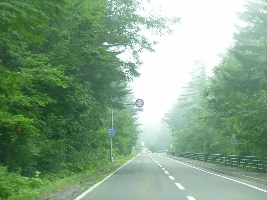 雨が降り、霧が発生すると視界がわるくなることもあり、ずっと直線だと思い込んでいるとカーブしていたりすることもあるから注意