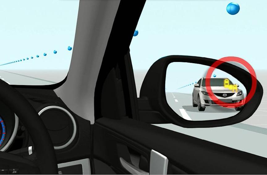 「リアビークルモニタリングシステム」のインジケーターは、ドアミラーの鏡面に内蔵される